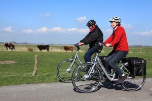 """Auf Fahrrad-Tour mit den E-Bikes """"Rückenwind trotz Gegenwind, diese É-Bikes vermieten wir Ihnen auch gerne.  / Ferienwohnung """" Möwe"""" in Husum-Schobüll"""
