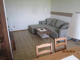"""Dieses gemütliche Sofa läßt sich problemlos zu einem Bett umbauen und bietet genügend platz für zwei personen / Ferienwohnung """"Haus lütje wehr"""" in Hattstedtermarsch"""