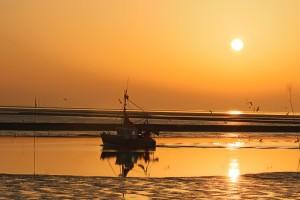 """Nach all den vielen Eindrücken, die man am Tag erlebt hat, lohnt es sich, am Strand den Sonnenuntergang auf sich wirken zu lassen. / Ferienwohnung """"Rödemis"""" in Husum"""