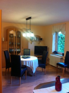 """Hier befindet sich auch der Essbereich mit Blick in den Garten. / Ferienhaus """"Ferienhaus Süncksen"""" in Husum"""