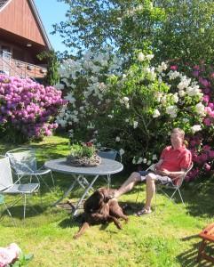 """Eine von vielen Sitzgruppen im Garten / Ferienwohnung """"Seaside - Familienurlaub mit Hund"""" in Husum-Schobüll"""