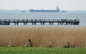 """..... Schiffsverkehr auf dem Wattenmeer.... / Ferienwohnung """"Nordstrand frei ab 29.10."""" in Husum - Schobüll"""