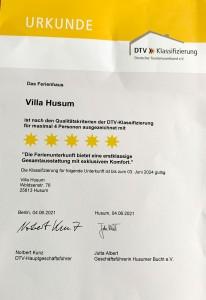 """Wieder einmal wurden wir mit   5 Sternen vom Deutschen Tourismusverband ausgezeichnet / Ferienhaus """"Villa-Husum"""" in Husum"""